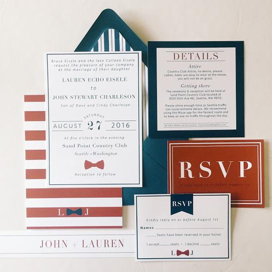 Classic AllAmerican Wedding Invitations Pretty Little Paper Co